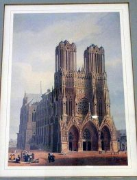 Artistic rendering of the Cathedral of Reims hanging in the museum of the Hotel de la Cloche in Reims, France.