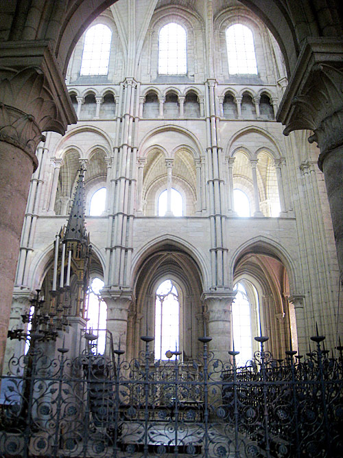 Looking into the nave from a side aisle in the cathedral of Laon.