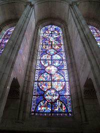 One of the stained glass windows in the cathedral of Laon.
