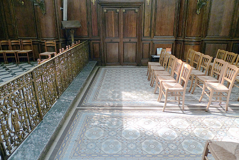 Tiled floor area in the church of Our Lady of Liesse (in Liesse, France).