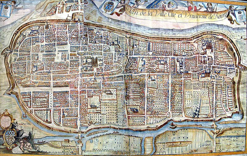 Early map of the city of Reims, hanging in the museum at the Hotel de la Cloche in Reims, France.