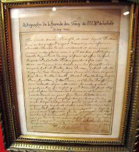 Copy of the 1694 formula of Vows, hanging in the museum at the Hotel de la Cloche in Reims, France.