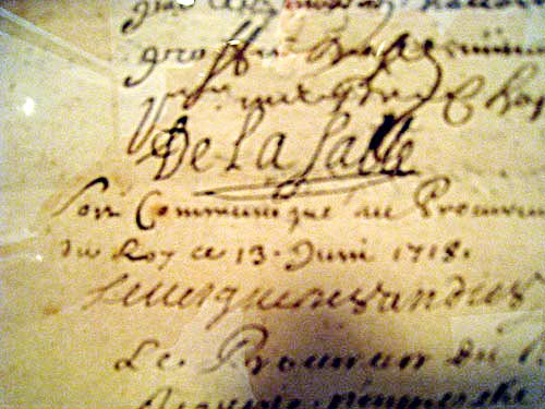 De La Salle's signature on one of the documents on display at the museum at the Hotel de la Cloche in Reims, France.