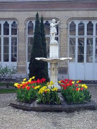 Statue in the garden of the child Jesus at the motherhouse in Reims of the Sisters of the Child Jesus.