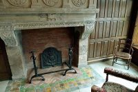 The fireplace in the front room at the Hotel de la Cloche in Reims, France.