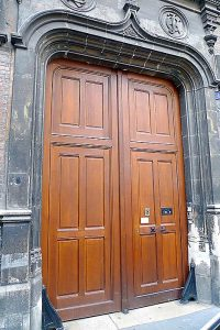 Front door, facing the main street, at the motherhouse in Reims of the Sisters of the Child Jesus.