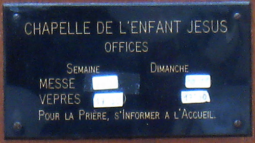 Sign on the wall at the front door of the motherhouse in Reims of the Sisters of the Child Jesus.