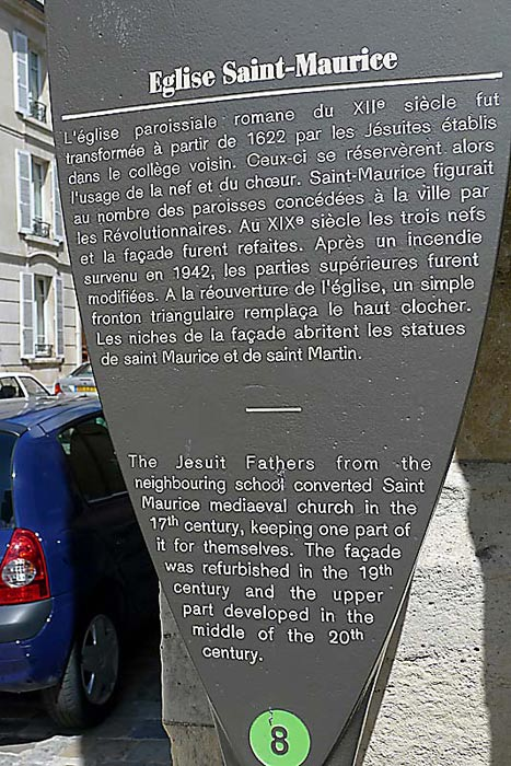 Historical description of the church of Saint Maurice in Reims.