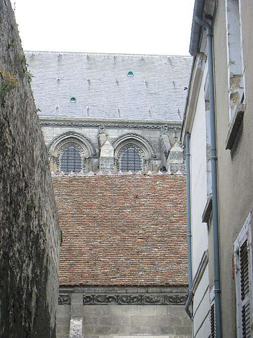 View of the cathedral of Laon from one of the side streets.