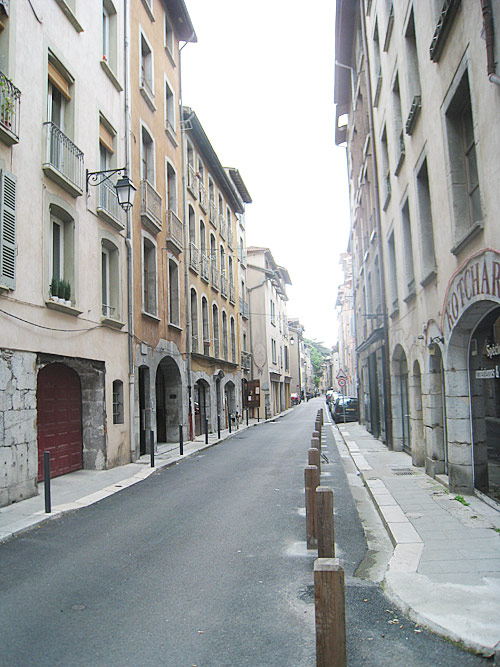 Looking down the Rue Saint Laurent. The Brothers' house is on the left.