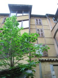 Looking up from the backyard to the house where the Brothers first lived in Grenoble.
