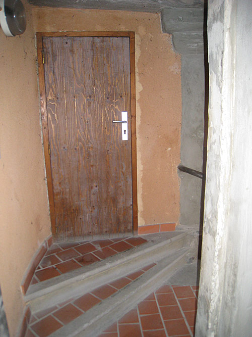 The door to the room at the top of the stairs at the house where the Brothers first lived in Grenoble. De La Salle stayed in this room.