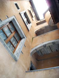 Looking up the well of the house where the Brothers first lived in Grenoble.
