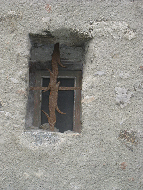 One of the windows of the Church of St. Laurent in Grenoble.