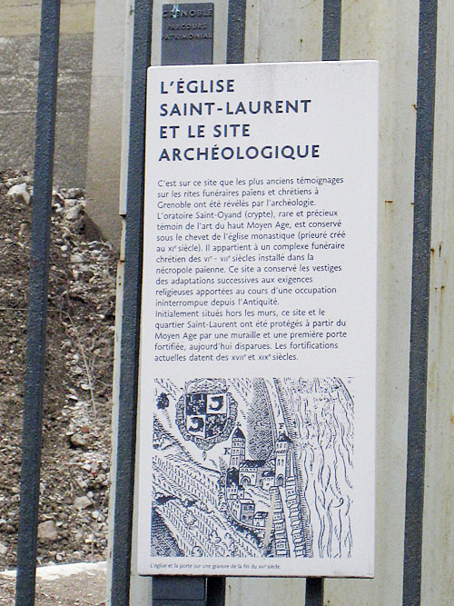 Plaque describing the history of this medieval church dating to the Middle Ages.