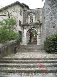 The entrance at the top of the stairs into the Convent of the Sisters of the Visitation.