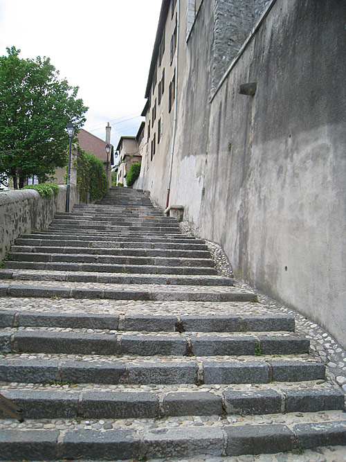 The steps leading up to the Convent of the Sisters of the Visitation. De La Salle walked these steps virtually every day during his time in Grenoble.