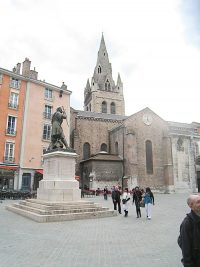 The plaza in front of the Church of Saint Andre in Grenoble.