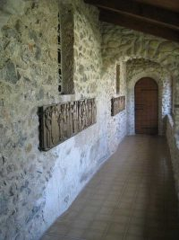 A small hallway leading to the chapel of the Parmenie retreat center.
