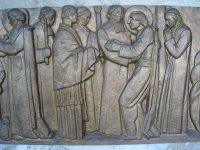 A depiction of scenes from the life of De La Salle at the Parmenie retreat center.