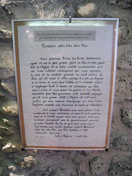 A copy of the letter sent by the Brothers to De La Salle while at the Parmenie retreat center.