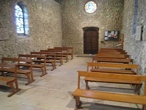 The chapel at the Parmenie retreat center, looking towards the main door entrance.
