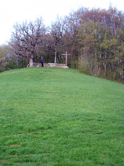 View towards the open-air altar overlooking the Parmenie retreat center.