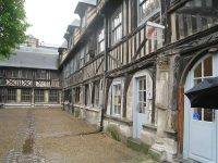 Inside the courtyard of St. Maclou in Rouen. The Lasallian school was on the second floor.