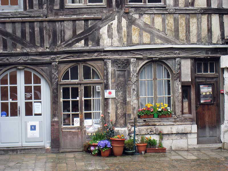 Detail from the buildings surrounding the courtyard of St. Maclou in Rouen.