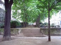 Garden area near the church of Saint Sulpice, where the seminary was likely to have been located.