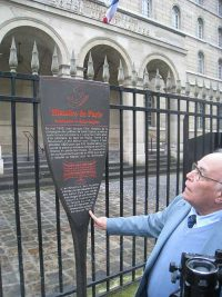 Historical marker near the church of Saint Sulpice.