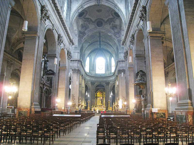 Inside the church of Saint Sulpice, looking towards the front.