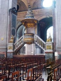 Pulpit at the church of Saint Sulpice.