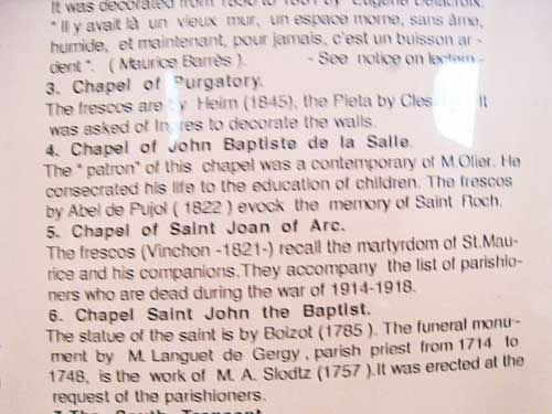 Signage in the side chapel at the church of Saint Sulpice.