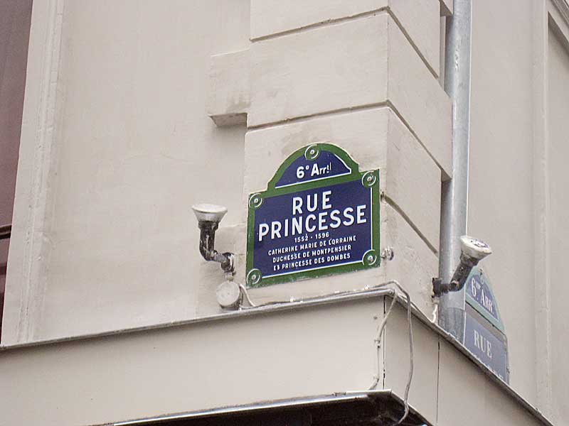 Street sign for the Rue Princesse.