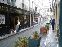 Filming on the Rue Princesse, among several prominent bars.