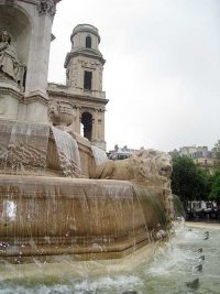 Detail from the fountain in the plaza in front of the church of Saint Sulpice.