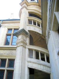 Detail of the stairs in the courtyard of the Hotel de La Cloche in Reims, France.