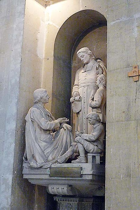 Statue of De La Salle inside of the church of Saint Maurice in Reims, where De La Salle began the first Lasallian school.