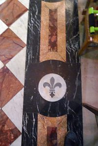 Detail from the stone floor pattern of the side chapel in the Reims Cathedral where De La Salle said his first Mass.