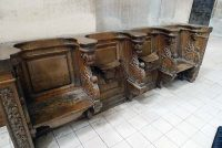 Antique choir stall inside the church of Saint Maurice in Reims. They may date from the time of De La Salle.