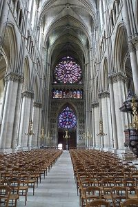 Looking towards the entrance into the Reims Cathedral and its magnificent stained glass windows, dating from the 13th to the 20th century.
