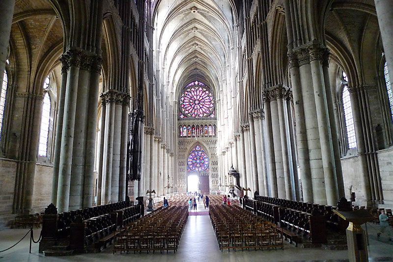 The view from the altar area of the Reims Cathedral towards the back.