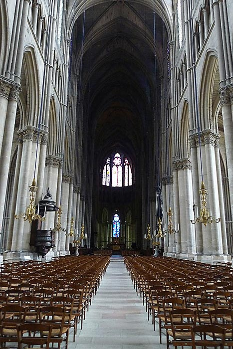 Another view towards the front of the Cathedral, illustrating its High Gothic style of architecture.