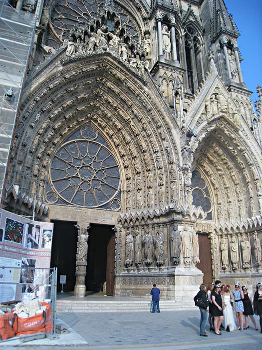 The area in front of the Reims Cathedral. This photo taken while repairs were in progress.