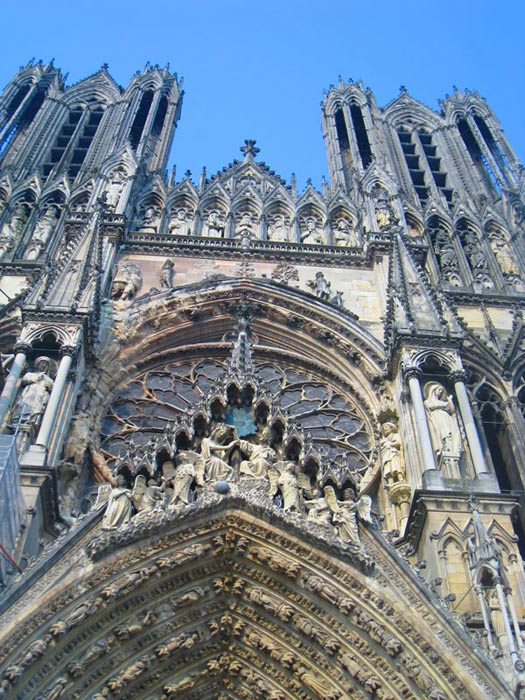 The front facade of the Reims Cathedral.