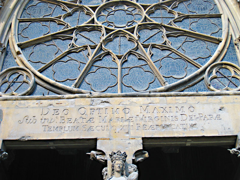 The inscription above the entrance of the Reims Cathedral.