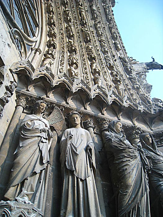 Detail from the facade of the Reims Cathedral.