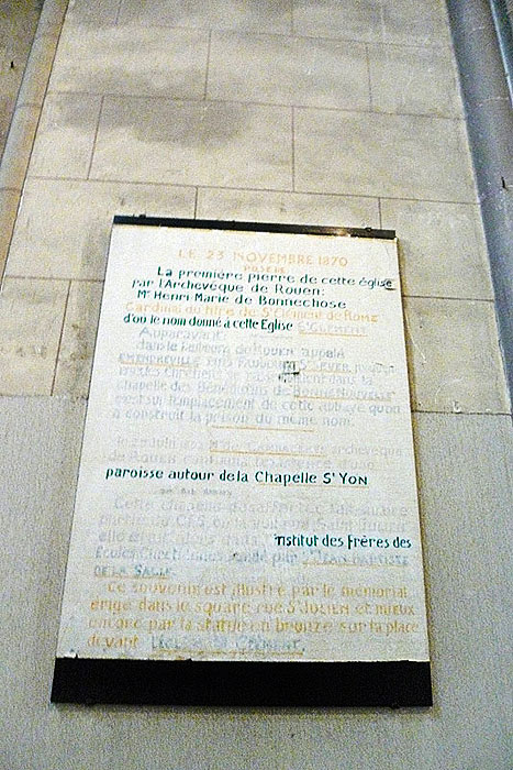 Commemorative plaque inside the Church of St. Clement.