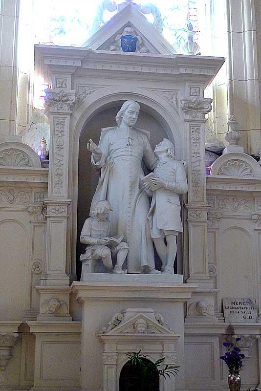 Statue of De La Salle inside the Church of St. Sever